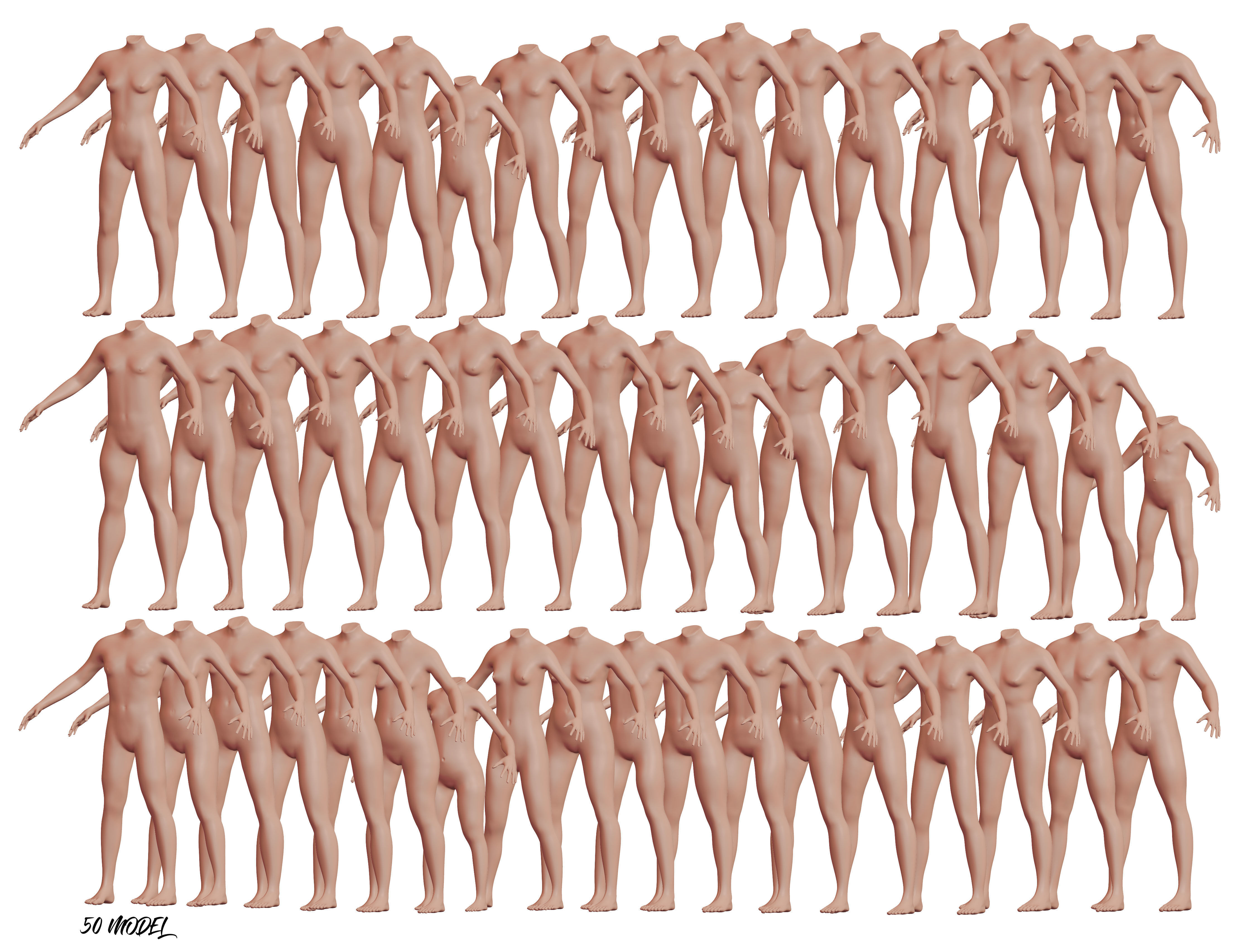 Collection Character High and Low-poly - 50 Body Male and Female