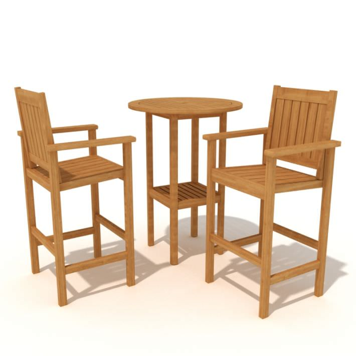 High Wooden Bar Stools And High Top Table 3d Model 1