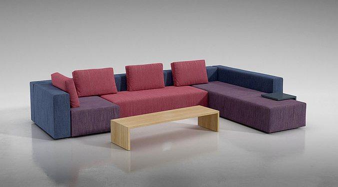 Exceptional Multi Color Modular Sofa 3D Model