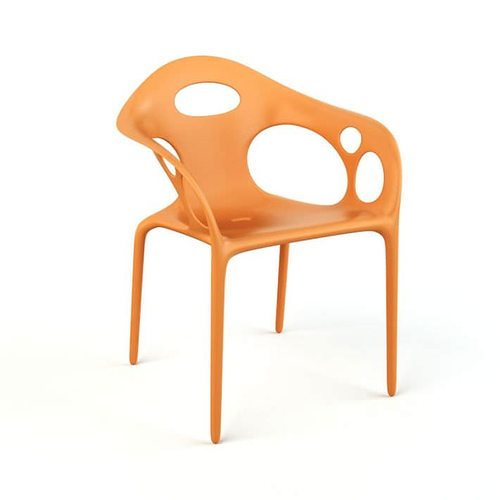 Gentil Orange Plastic Chair 3D Model