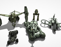 sci-fi vehicle pack 3d model low-poly max obj fbx