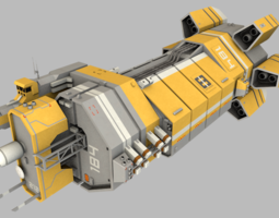 game-ready mining command control vessel 3d model