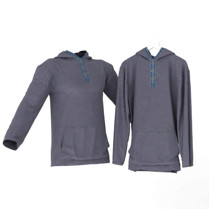 Pullover Hooded Blouse Blue