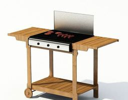 garden grill with sausages and burger meat 3d