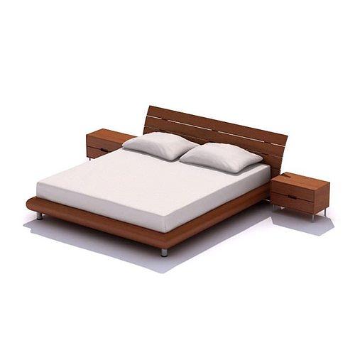 Classic Wooden Bed 3d Model