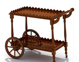 3D Classic Wooden Table With Wheels