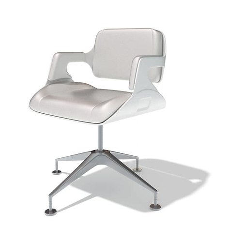 modern white office chair 3d model