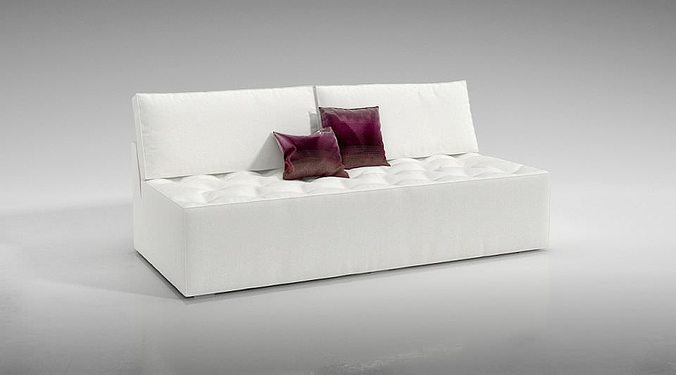 white sofa with red and white pillows 3d model obj 1