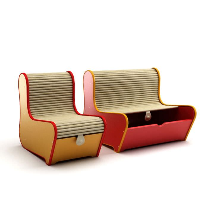 Two In One Sofa And Storage Unit 3D Model