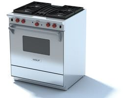 3D Stainless Steel Gas Stove Wolf