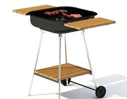 grill stand with wooden sides 3d