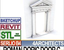 Renaissance Doric Door C Revit STL Printable 3D Model