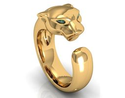 Panthere Emerald Gold Ring 3D Model