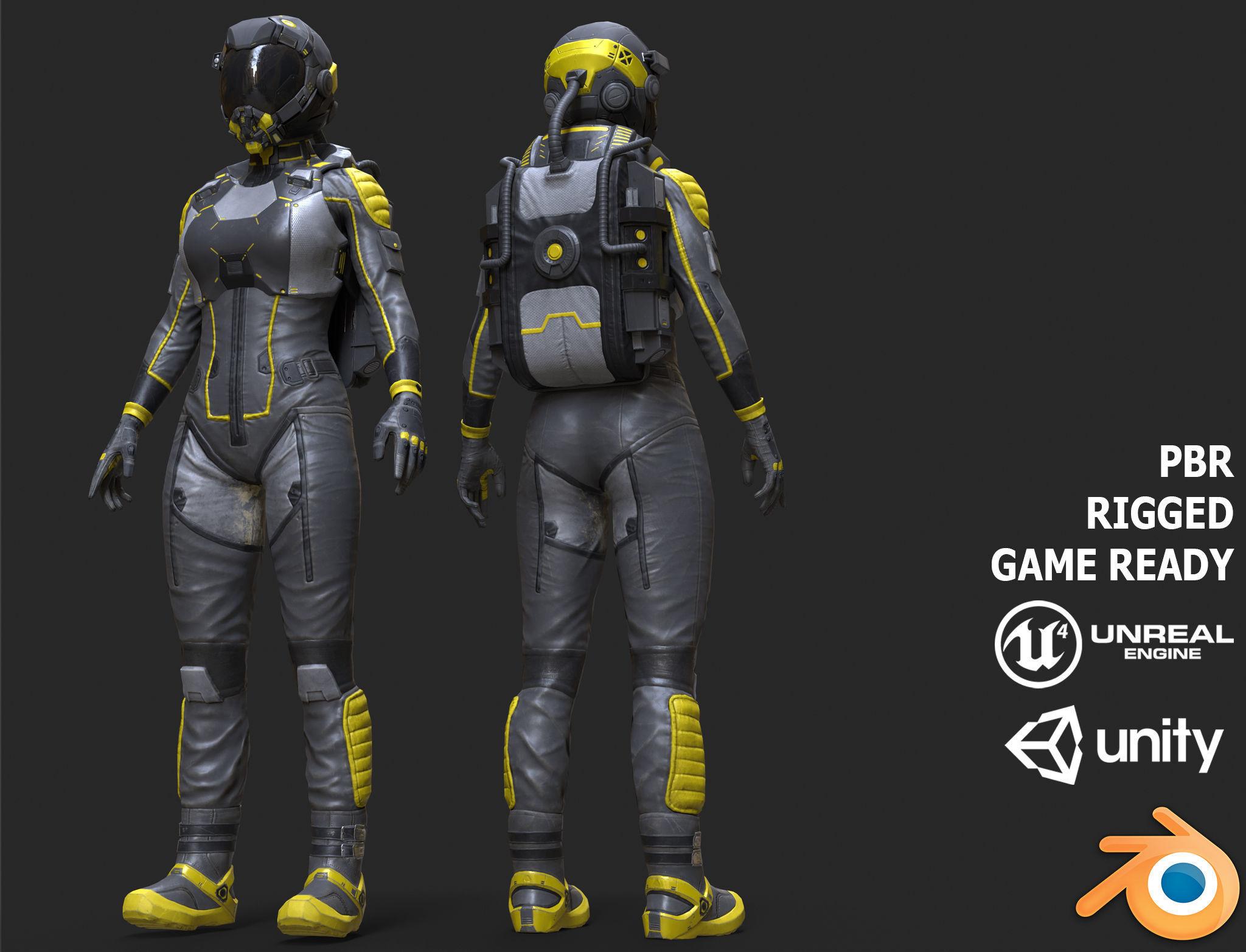 Female Space Suit Black LITE VERSION