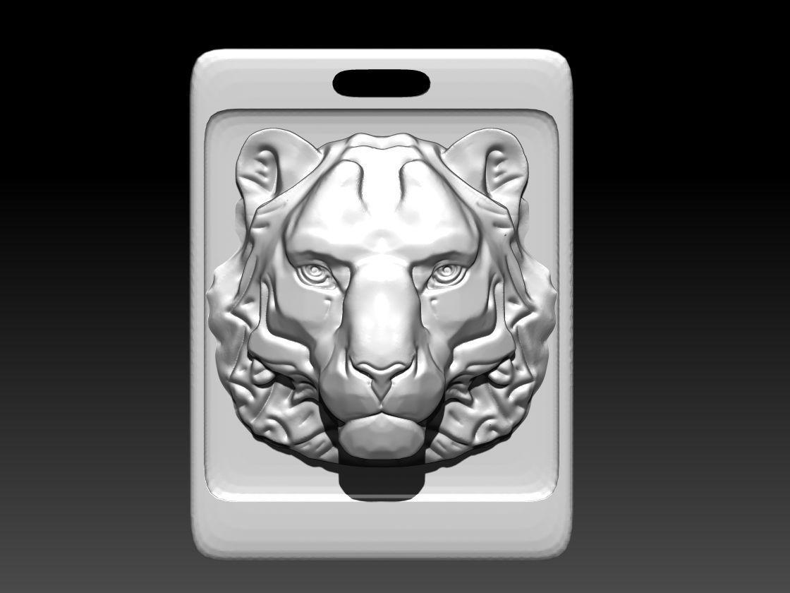Animal Cat Tiger Lion Puma Pendant Sqr