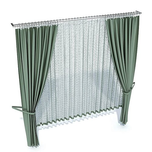 green long curtains 3d model  1