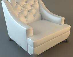 white armchair tufted back 3d model