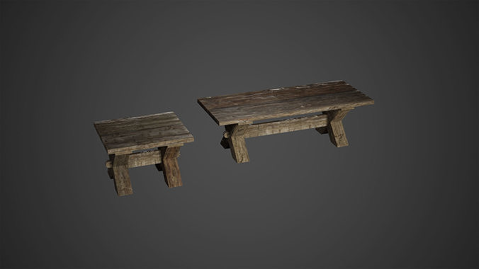 Medieval Wooden Benches Low Poly Game Ready