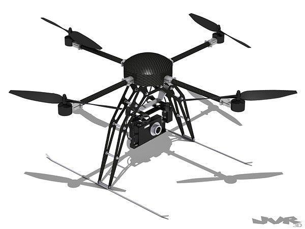 quadcopter generic with camera 3d model max obj 3ds fbx mtl pdf 1