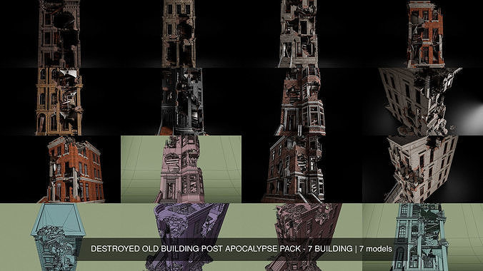 DESTROYED OLD BUILDING POST APOCALYPSE PACK - 7 BUILDING
