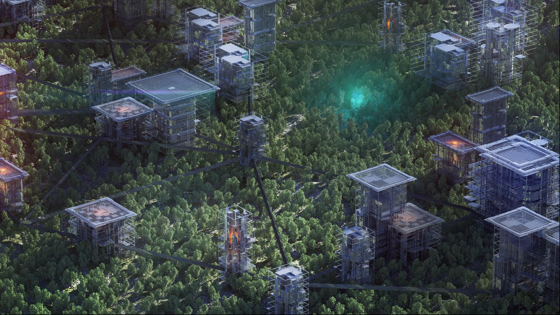 Unique Sci-Fi Cyberpunk Futuristic City Buildings Kitbash
