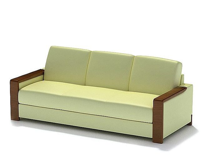Light Yellow Leather Couch Model
