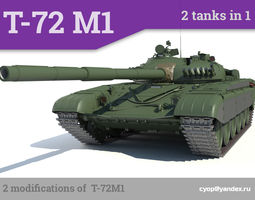 t-72m1 russian main battle tank 2 tanks in 1 3d model max