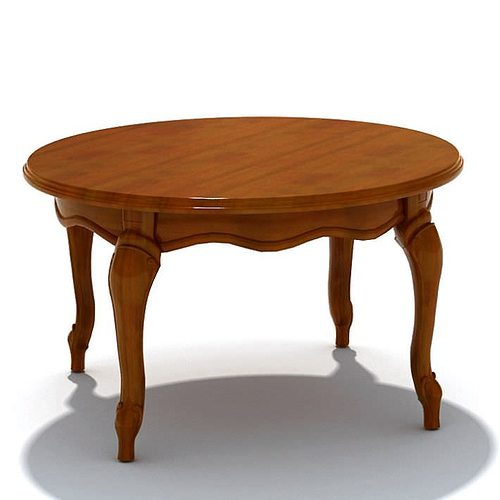 Merveilleux Round Vintage Wood Table 3D Model