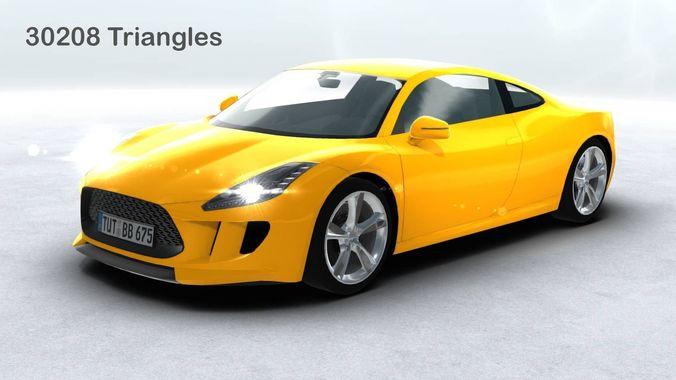 generic sports car realtime 3d model low-poly max obj mtl 3ds fbx c4d lwo lw lws 1