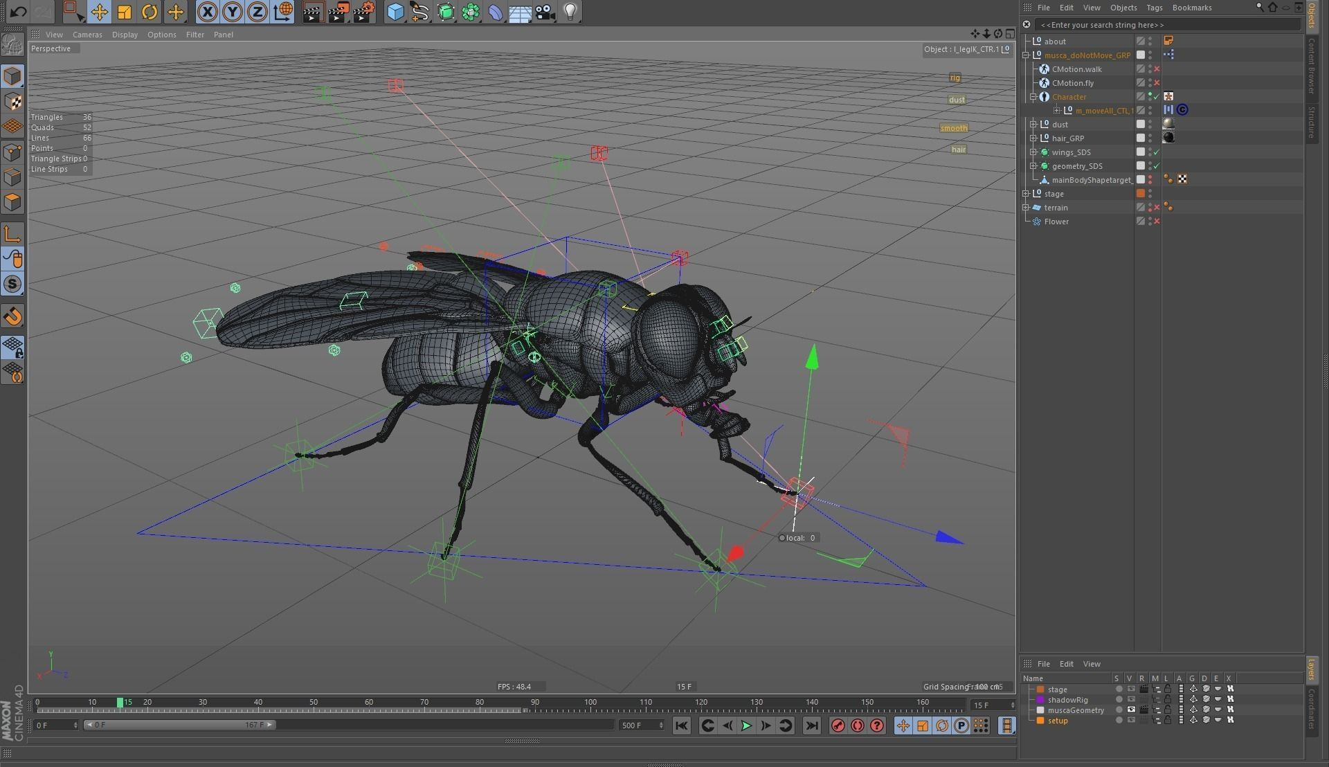 Housefly rigged and animated for cinema 4d 3d model for Cinema 4d raumgestaltung