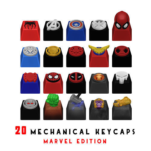 20 KEYCAPS FOR MECHANICAL KEYBOARD - MARVEL EDITION -
