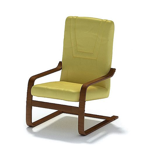Lime Green Leather Wood Framed Chair 3D Model