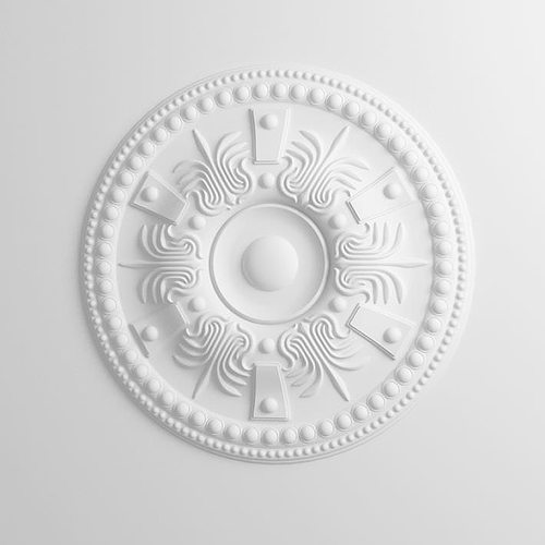 intricated white plaster ceiling decoration 3d model obj 1
