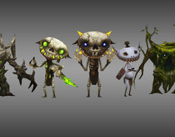 rigged 3d asset monster character game collection 1