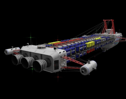 Heavy SciFi Cargo Freighter 3D model animated