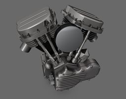 Panhead Harley Motorcycle Engine 3D
