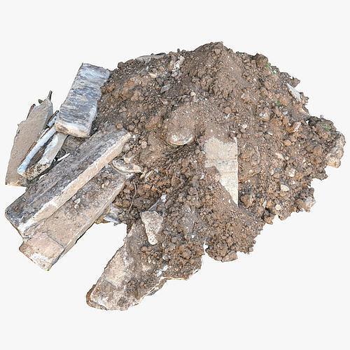 Construction soil heap and concrete rubble