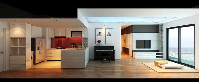 apartment livingroom 3d model max fbx 1