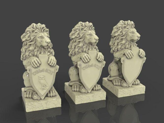 lion sculpture 3d model obj mtl stl 1