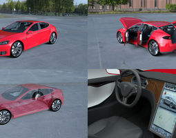 tesla model s with chassis-interior hdri 3d model obj fbx stl blend dae