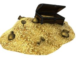 Treasure with coins and chest 3D Model