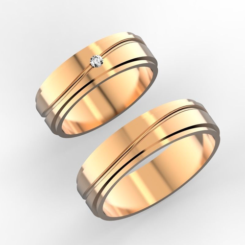 wedding bands with 2 mm stone  3d model stl 3dm 2