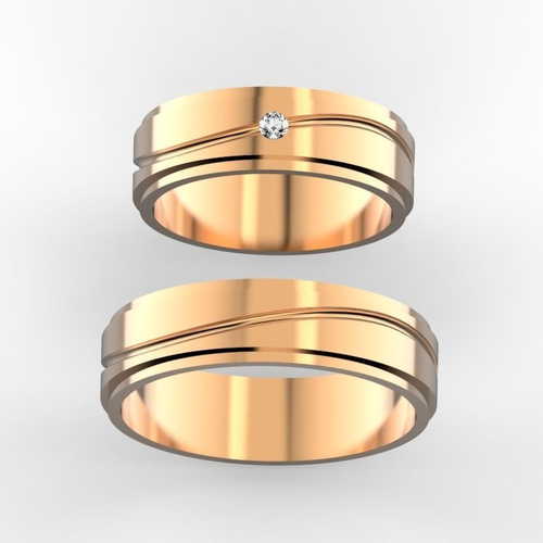 wedding bands with 2 mm stone  3d model stl 3dm 1