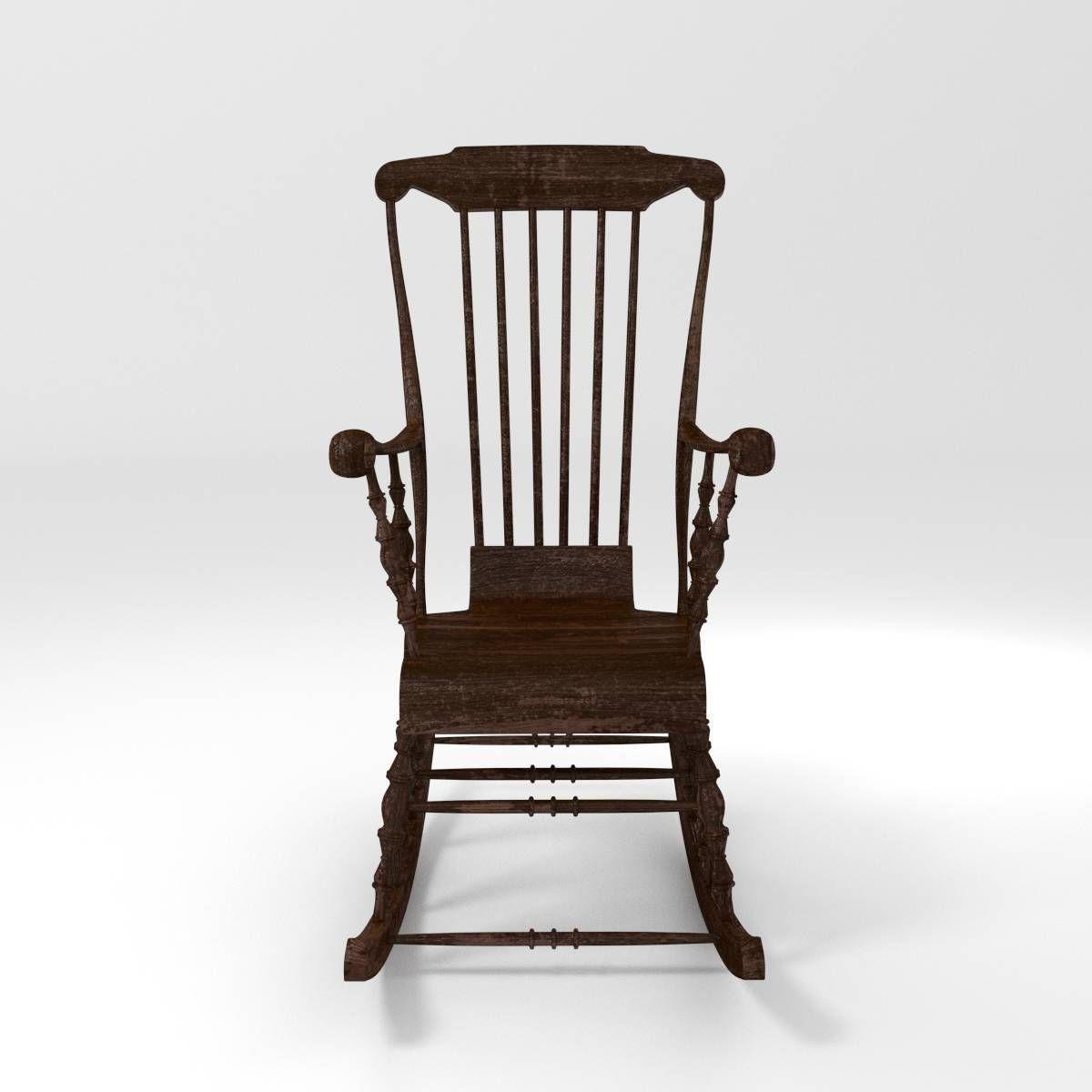 ... Classic Rocking Chair 3d Model Obj Fbx Blend Mtl 2 ...
