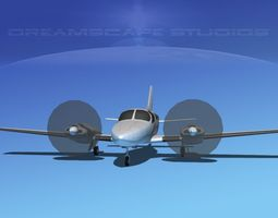 game-ready rigged cessna 402 businessliner ss 3d asset