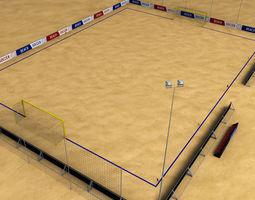 beach soccer stadium field low poly 3d model low-poly max obj 3ds fbx mtl