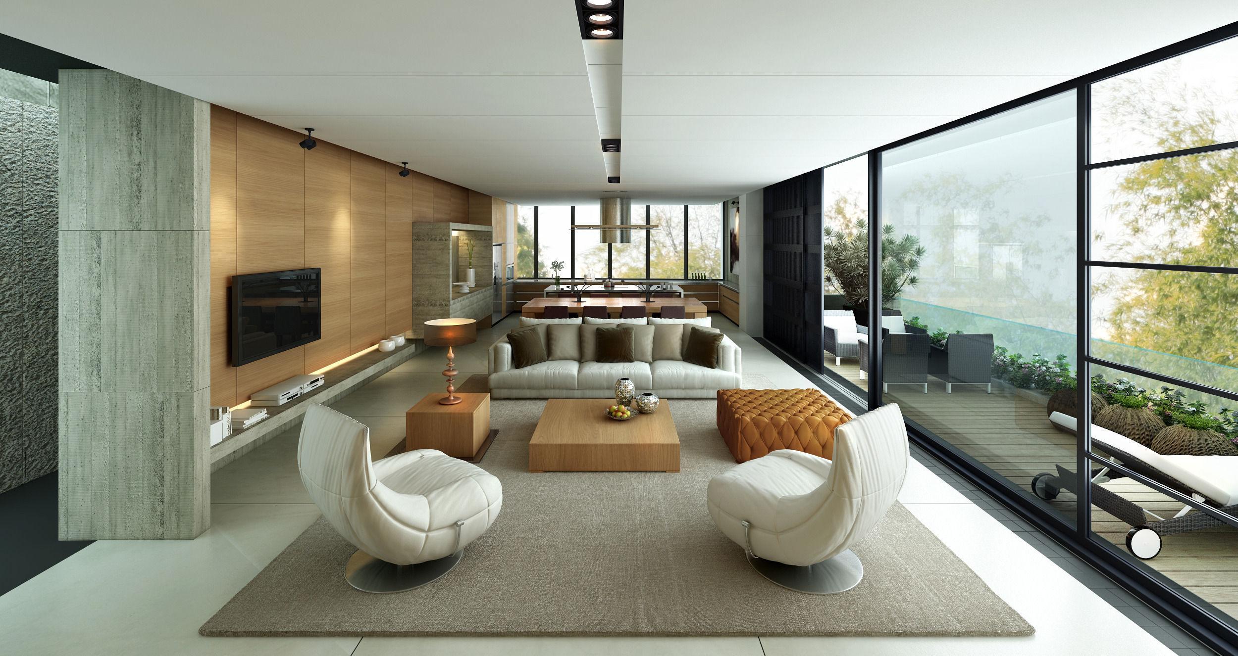 Penthouse Living Room 3d Model Max Fbx 1 ...