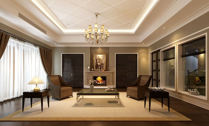 3d interior classic living room cgtrader for Living room designs 3d model