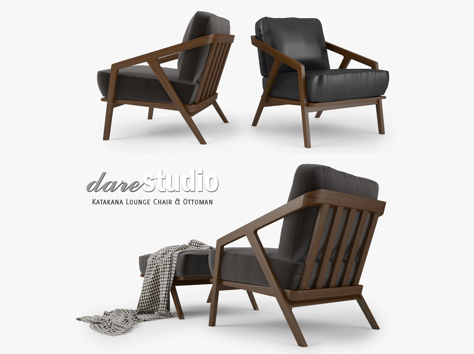 Dare Studio Katakana Lounge Chair and Ottoman 3D model MAX OBJ FBX MTL