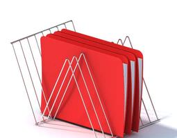 Steel File Holder With Three Files 3D model